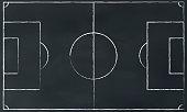 vector soccerfield illustration on chalk board