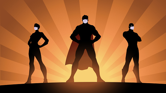 Vector Social Distancing Superheroes Silhouette Stock Illustration