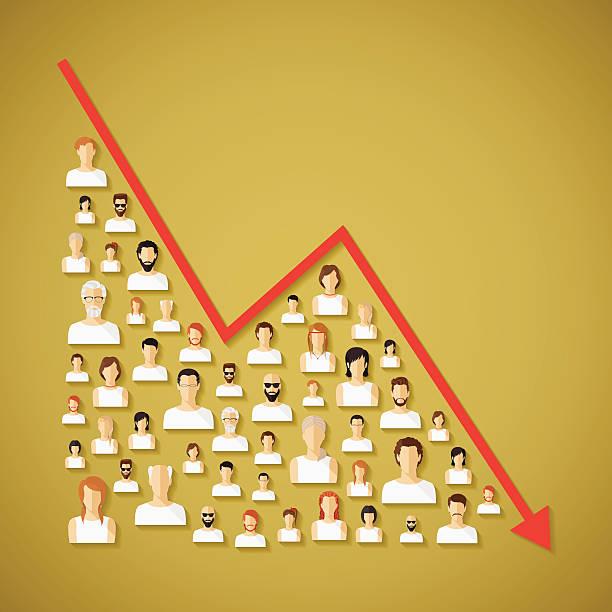 ilustraciones, imágenes clip art, dibujos animados e iconos de stock de vector red social de datos demográficos de la población y rechazar el concepto. - infografías demográficas