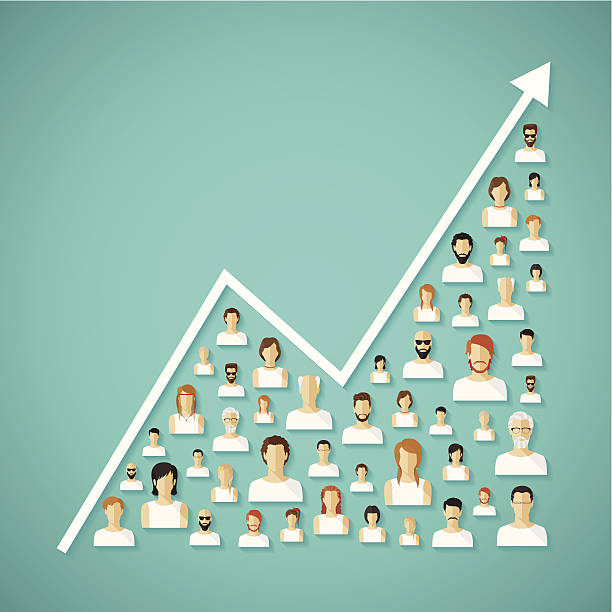 Vector social network population and demography growth concept. Vector social network population and demography growh concept with flat human icons. counting stock illustrations