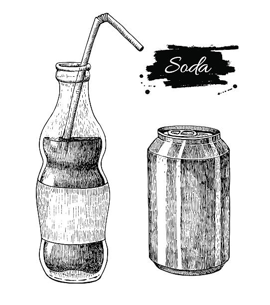 illustrazioni stock, clip art, cartoni animati e icone di tendenza di disegno vettoriale seltz. soda illustrazioni disegnato a mano libera. - bottle soft drink