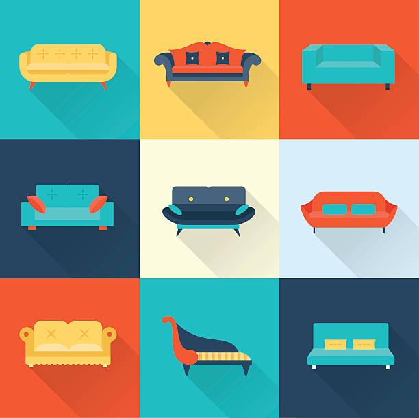 vektor-sofa symbole - couch stock-grafiken, -clipart, -cartoons und -symbole