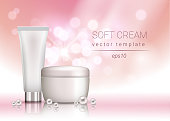 Vector soft cosmetic cream blank package adevrtisement template with pearls and sparkles