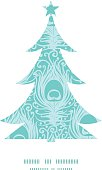 Vector soft peacock feathers Christmas tree silhouette pattern frame card template graphic design
