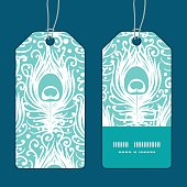 Vector soft peacock feathers vertical stripe frame pattern tags set graphic design