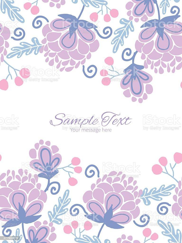vector soft purple flowers vertical double borders frame invitation