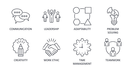 Vector soft skills icons. Editable stroke. Interpersonal attributes symbols succeed in workplace. Communication teamwork adaptability problem solving creativity work ethic time management leadership.
