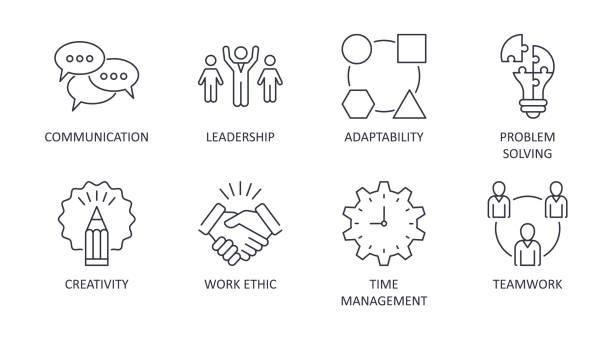 ikony umiejętności miękkich wektorowych. edytowalne obrys. symbole atrybutów interpersonalnych odnoszą sukces w miejscu pracy. komunikacja praca zespołowa adaptability problem rozwiązywania kreatywności pracy etyki czas zarządzania przywództwem - umiejętność stock illustrations