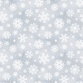 Vector soft winter seamless pattern, background with snowflakes