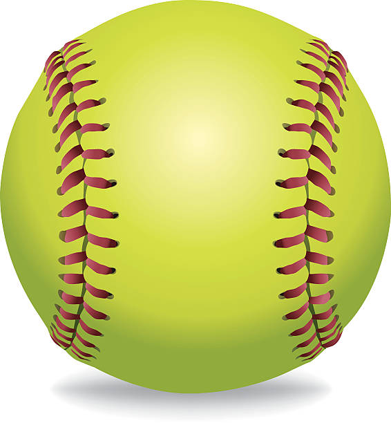 vector softball isolated on white illustration - softball stock illustrations, clip art, cartoons, & icons
