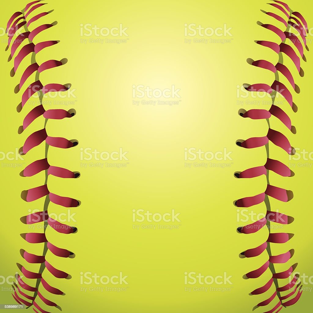 Vector Softball Laces Closeup Background Illustration vector art illustration