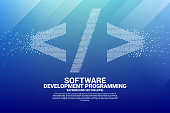 Vector software development programming tag icon with square dot pixel.