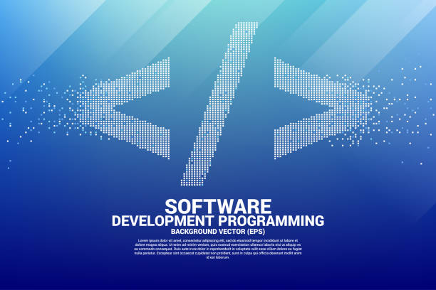 Vector software development programming tag icon with square dot pixel. Concept for Programming language technology and coding. html stock illustrations