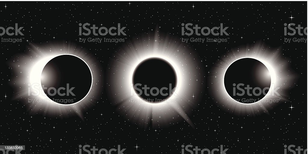 Vector solar eclipse, three stages vector art illustration