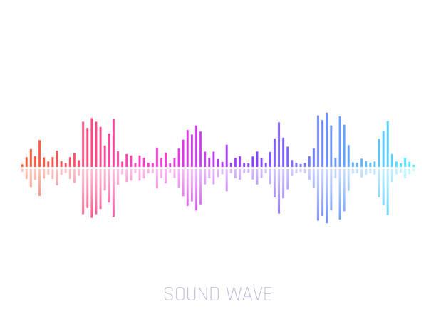 vector schallwelle. bunte schallwellen für party, dj, kneipe, clubs, diskotheken. audio-equalizer-technologie. vektor-illustration - sound wave stock-grafiken, -clipart, -cartoons und -symbole