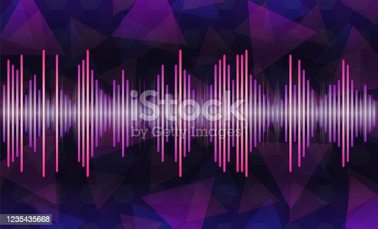 vector sound wave illustration , purple to blue music wave, oscillating glowing purple light, background with voice music technology, minimal design