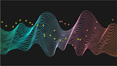 Vector sound wave lines dynamic in blue, green, pink, orange color light flowing on black background for concept of music, sound, technology.