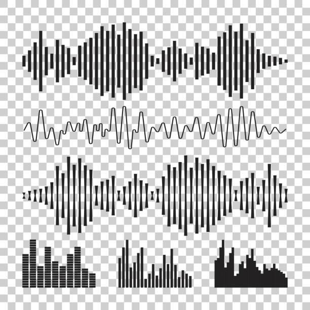 ilustrações, clipart, desenhos animados e ícones de ícone de formas de onda de som de vetor. ondas sonoras e ilustração vetorial de pulso musical sobre fundo isolado. - barulho