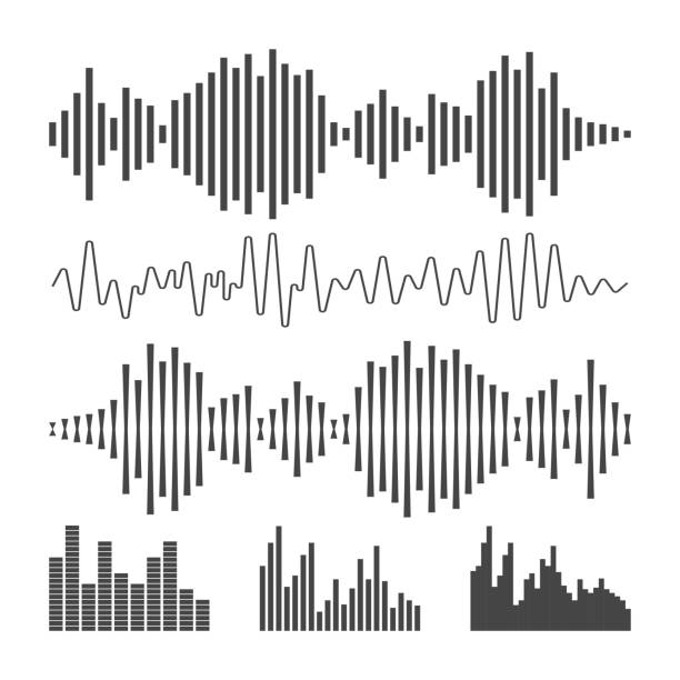 vector sound waveforms icon. - sound wave stock illustrations, clip art, cartoons, & icons