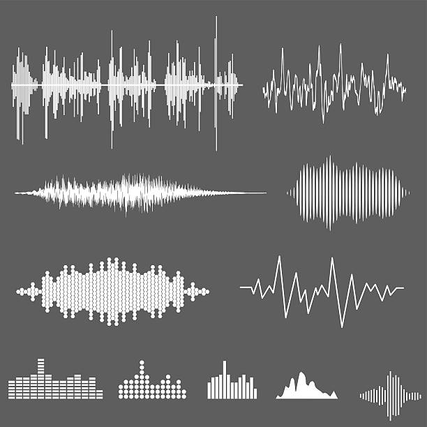 Vector Sound Waveforms. Sound waves and musical pulse Vector Sound Waveforms. Sound waves and musical pulse earthquake stock illustrations