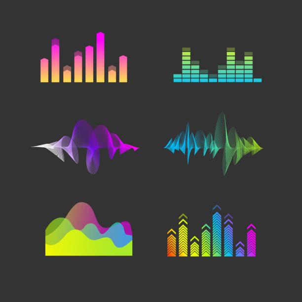 Vector Sound Waves Equalizer Set vector art illustration