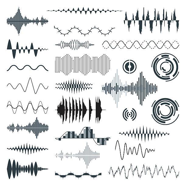 vector sound waves set. audio - sound wave stock illustrations, clip art, cartoons, & icons