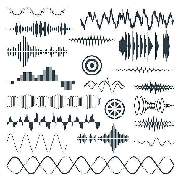 Vector Sound Waves Set Audio Art Illustration