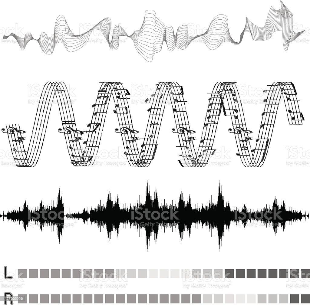 Vector sound waves set vector art illustration