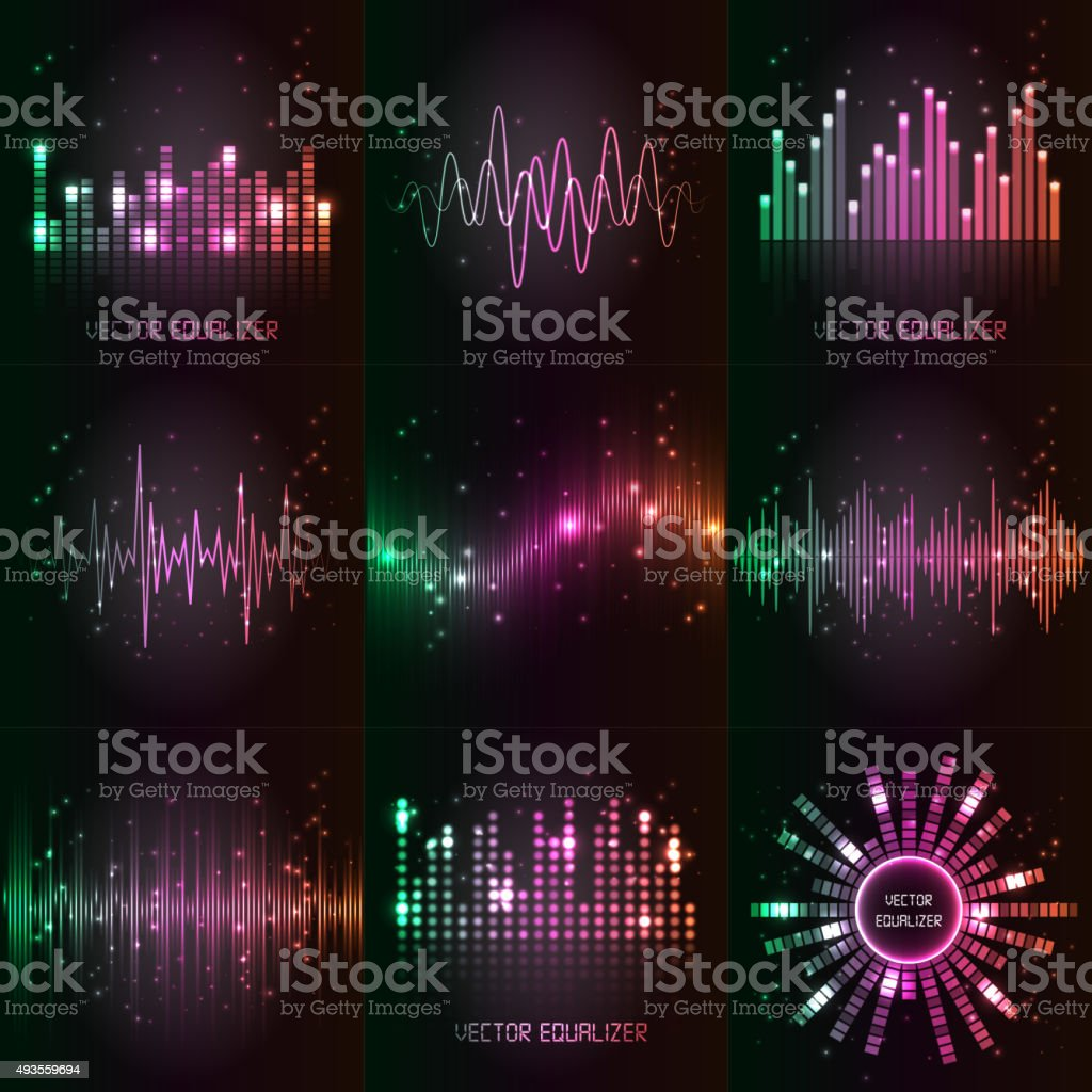 Vector sound waves set. vector art illustration