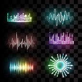 Vector sound waves set.