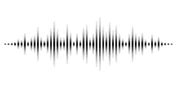 Vector sound waves stylized with stippled vanishing columns. Dynamic equalizer visual effect.