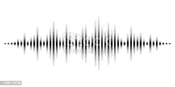 istock Vector sound waves stylized with stippled vanishing columns. Dynamic equalizer visual effect. 1208116708