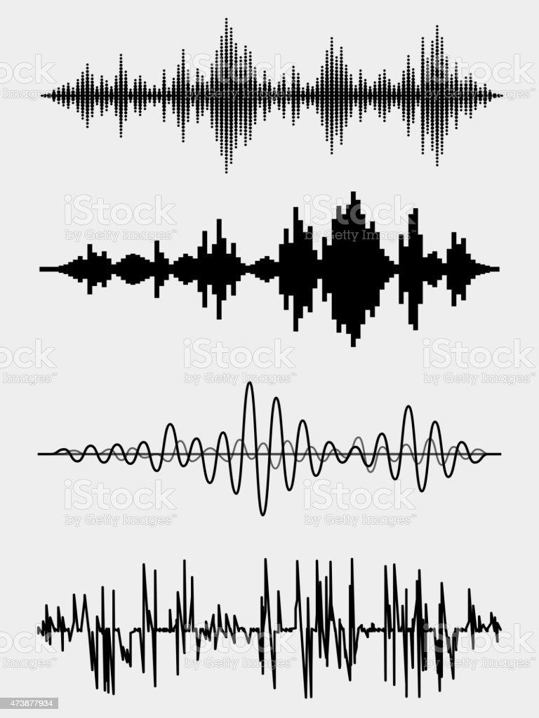 Vector sound waves vector art illustration