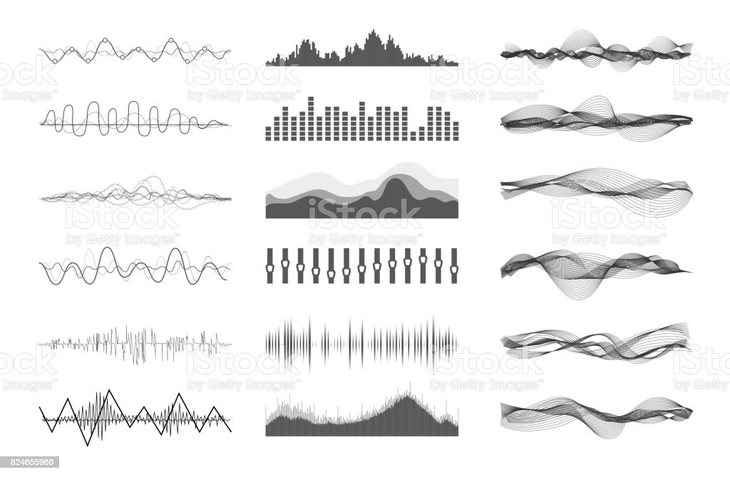 Vector sound waves vector art illustration