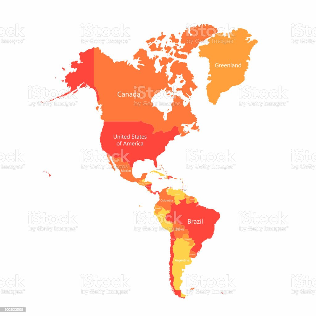 Vector South America and North America map with countries borders. Abstract red and yellow American countries on map vector art illustration
