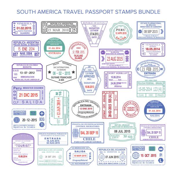 ilustrações, clipart, desenhos animados e ícones de conjunto de selos de visto de viagem de cor de américa do sul vetor - passaporte e visto