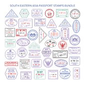 Vector south eastern asia color travel visa stamps bundle