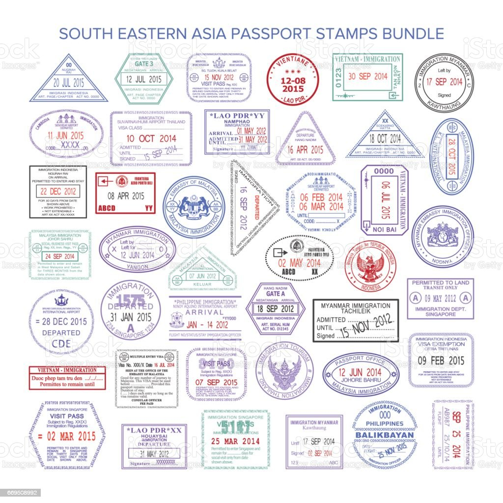 Vector south eastern asia color travel visa stamps bundle vector art illustration