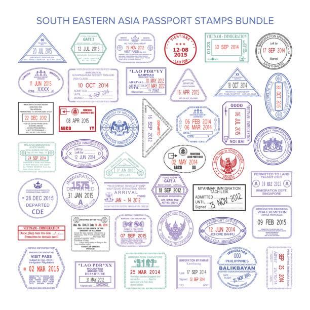 ilustrações, clipart, desenhos animados e ícones de pacote de vetor sudeste ásia cor viagens carimbos - passaporte e visto