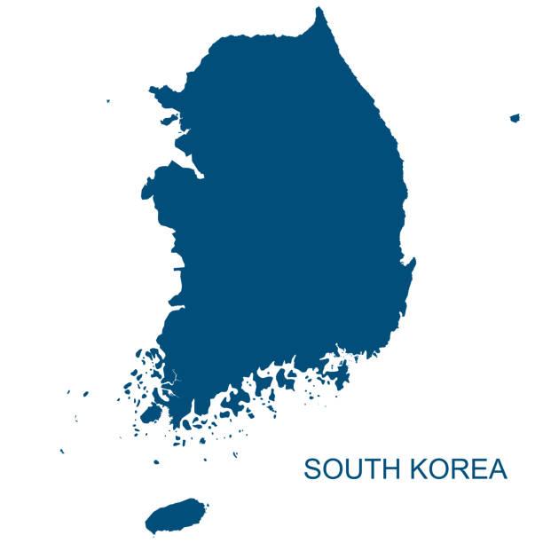 stockillustraties, clipart, cartoons en iconen met vector zuid-korea contour - korea