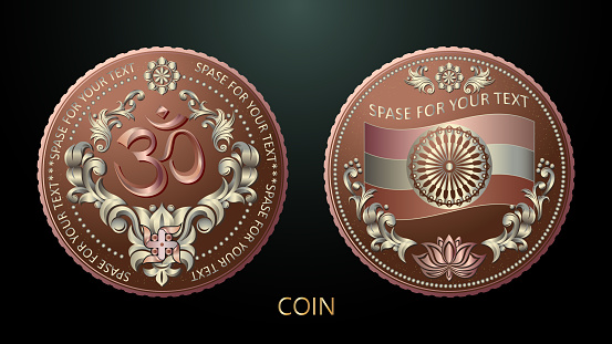 Vector. Souvenir coin. India. The sacred symbol of Hinduism is the word Om, framed by luxurious leaves, a cross and lotus flowers. The reverse of the coin features the flag of India and a lotus flower