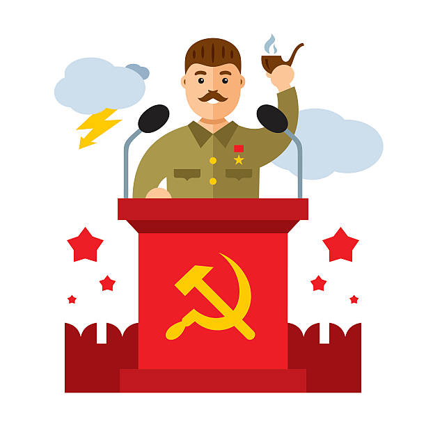 vector soviet leader parodic character. flat style colorful cartoon illustration - old man smoking pipe drawing stock illustrations, clip art, cartoons, & icons