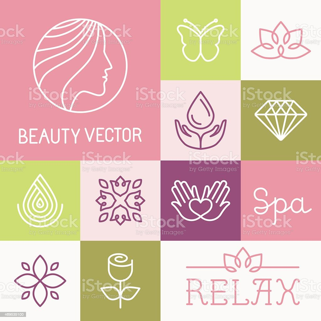 Vector spa and cosmetics logos vector art illustration