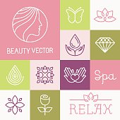 Vector spa and cosmetics logos