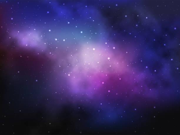 ilustrações de stock, clip art, desenhos animados e ícones de vector space background with colorful nebula and bright stars - mapa das estrelas
