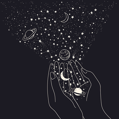 Vector space background with hands holding constellations, planets, moon and stars