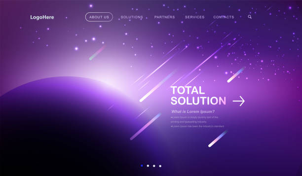 vector space background with place landing page with total solution texts. website template for startup business or technology company. - space background stock illustrations