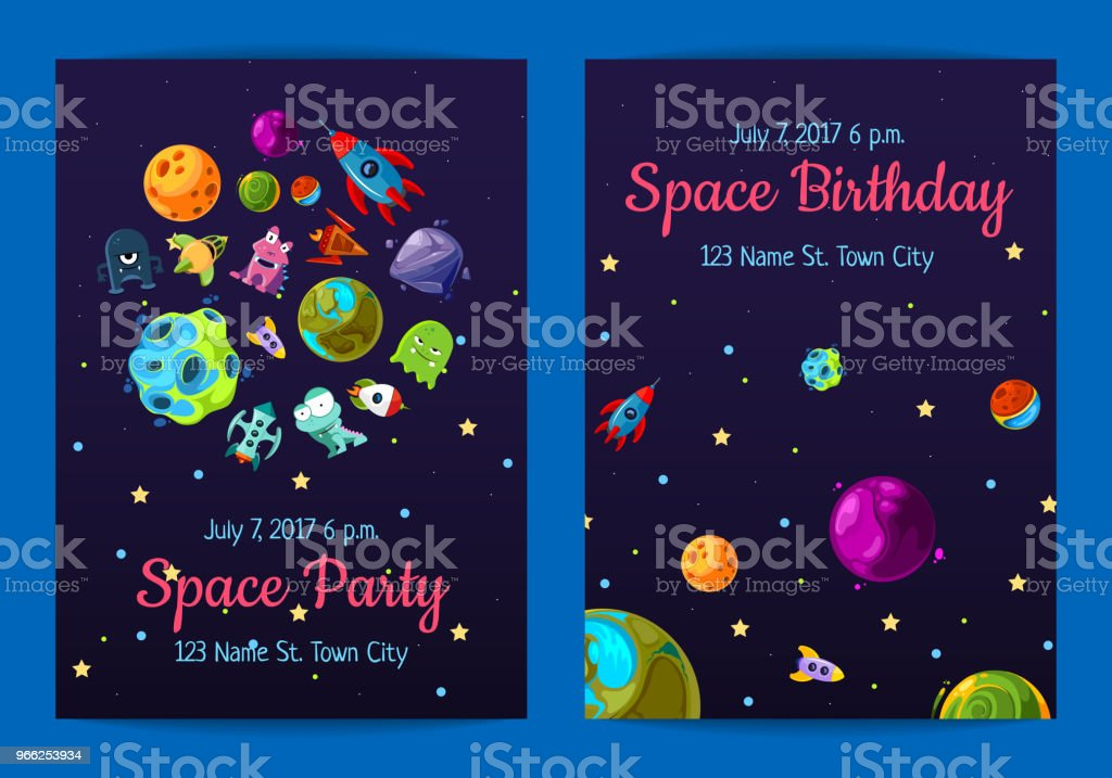 Vector Space Birthday Party Invitation Templates With Space Elements
