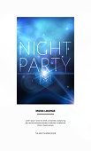 Space party flyer design with bright blue nebula and white stars. Vector illustration.