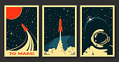 istock Vector Space Posters. Stylized under the Old Soviet Space Propaganda 1249788950